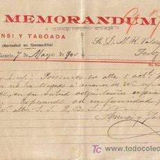 Cartas comerciales: ALICANTE. 1900. CARTA COMERCIAL DE MEMORANDUM. ASENSI TABOADA.. Lote 14278454