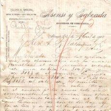 Cartas comerciales: ALICANTE. 1900. CARTA COMERCIAL DE TALLERES DE TONELERIA. ASENSI TABOADA.. Lote 6503121