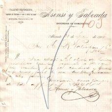 Cartas comerciales: ALICANTE. 1900. CARTA COMERCIAL DE TALLERES DE TONELERIA. ASENSI TABOADA.. Lote 6503144