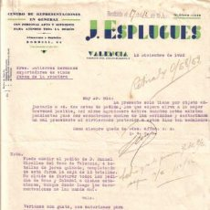Cartas comerciales: VALENCIA. 1932. CARTA COMERCIAL DE CENTRO DE REPRESENTACIONES. J. ESPLUGUES.. Lote 8740259