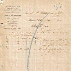 Cartas comerciais: SANTIAGO. 1900. CARTA COMERCIAL DE FARMACEUTICO JOVITA LABARTA.. Lote 6570470