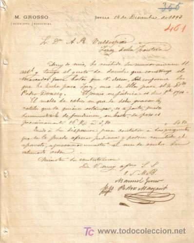 SEVILLA. 1893. CARTA COMERCIAL DE INGENIERO INDUSTRIAL DE M. GROSSO. (Coleccionismo - Documentos - Cartas Comerciales)