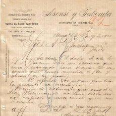 Cartas comerciales: ALICANTE. 1900. CARTA COMERCIAL DE TARTAROS Y FRUTOS DEL PAIS. ASENSI Y TABOADA.. Lote 8277742