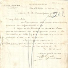 Cartas comerciales: JEREZ DE LA FRONTERA ( CADIZ). 1901. CARTA COMERCIAL DE GONZALEZ BYASS & CIA.. Lote 6965150