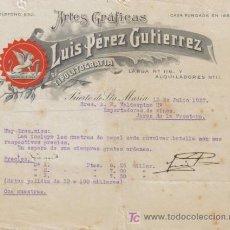 Cartas comerciales: PUERTO DE STA. MARIA ( CADIZ). 1927. CARTA COMERCIAL DE ARTES GRAFICAS. LUIS PEREZ GUTIERREZ.. Lote 7078631