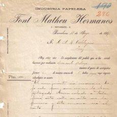 Cartas comerciales: BARCELONA. 1893. CARTA COMERCIAL DE INDUSTRIA PAPELERA. FONT MATHEU HERMANOS.. Lote 8379838