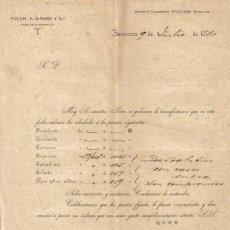 Cartas comerciales: BARCELONA. 1896. CARTA COMERCIAL DE FOLCH, ALBIÑANA Y CIA.. Lote 8379875