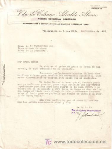 Villagarcia de arosa 1951 carta comercial de comprar - Agente comercial colegiado ...
