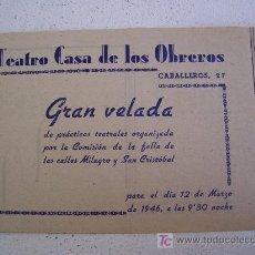 Cartas comerciales: PROGRAMA:GRAN VELADA ORGANIZADA POR COMISION DE FALLA C/ MILAGRO Y SAN CRISTOBAL, MIMI VALDES, 1946. Lote 25001000