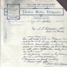 Cartas comerciales: LA PALMA ( HUELVA). 1936. CARTA COMERCIAL DE TALLER DE TONELERIA. PEDRO SOLIS DELGADO.. Lote 10964835