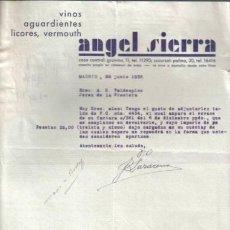 Cartas comerciales: MADRID. 1936. CARTA COMERCIAL DE VINOS, AGUARDIENTES Y LICORES. ANGEL SIERRA.. Lote 7649868