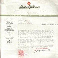 Cartas comerciales: BARCELONA. 1954. CARTA COMERCIAL DE CASA GUILLAMET.. Lote 7650371