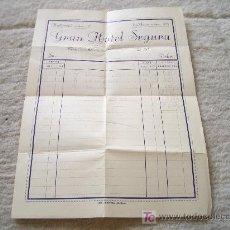 Cartas comerciales: FACTURA DELGRAN HOTEL SEGURA DE MADRID. GUERRA CIVIL. 1938. Lote 23407058