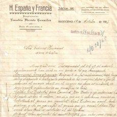 Cartas comerciales: ALGECIRAS ( CADIZ). 1935. CARTA COMERCIAL DE H. ESPAÑA Y FRANCIA. EUSEBIO VICENTE GONZALEZ.. Lote 8007202
