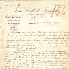 Cartas comerciales: ALMERIA. 1926. CARTA COMERCIAL DE AGENTE COMERCIAL. JOSE GALLUD IGLESIAS.. Lote 8022779