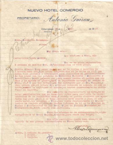 VILLAROBLEDO ( ALBACETE). 1929. CARTA COMERCIAL DE NUEVO HOTEL COMERCIO. ANTONIO GUIRAU. (Coleccionismo - Documentos - Cartas Comerciales)