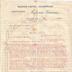 Cartas comerciales: VILLAROBLEDO ( ALBACETE). 1929. CARTA COMERCIAL DE NUEVO HOTEL COMERCIO. ANTONIO GUIRAU.. Lote 8458023