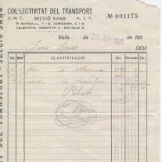 Cartas comerciales: GUERRA CIVIL. AÑO 1937. COLECTIVIZACION. CNT.AIT. TRANSPORTE. VALLS . SELLO DE CONTROL OBRERO.. Lote 22796646