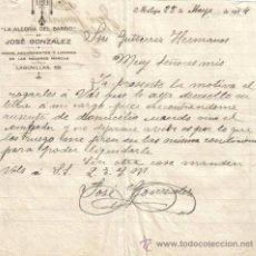 Cartas comerciales: MALAGA. 1924. CARTA COMERCIAL DE VINOS, AGUARDIENTES Y LICORES. JOSE GONZALEZ.. Lote 8704636