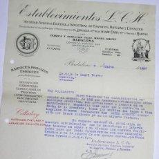 Cartas comerciales: BADALONA AÑO 1930 -ESTABLECIMIENTOS L.C. H. -S. A. ESPAÑOLA INDUSTRIAL DE BARNICES,PINTURAS Y . Lote 16126483