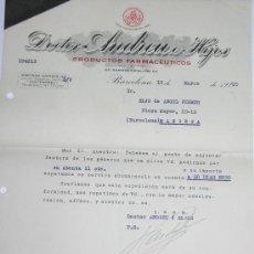Cartas comerciales: DOCTOR ANDREU E HIJOS AÑO 1930 - BARCELONA-. Lote 11172590