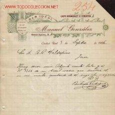 Cartas comerciais: CARTA COMERCIAL DE MANUEL GONZALEZ. CAFE. VERMOUZT Y CERVEZA, BAR IDEAL, LICORES.CIUDAD REAL.. Lote 18113721