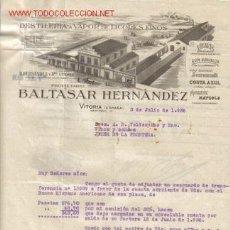 Cartas comerciales: VITORIA - CARTA COMERCIAL DE LA DESTILERIA A VAPOR DE LICORES FINOS BALTASAR HERNANDEZ Y HNO.. Lote 7896173