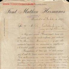 Cartas comerciales: BARCELONA. CARTA COMERCIAL DE FONT MATHEU HERMANOS. INDUSTRIA PAPELERA.. Lote 8496209