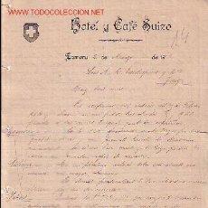 Lettres commerciales: ZAMORA-CARTA COMERCIAL DE HOTEL Y CAFÉ SUIZO.. Lote 1796124