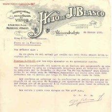 Cartas comerciales: ALMENDRALEJO (BADAJOZ). CARTA COMERCIAL DE HIJO DE J. BLASCO. COSECHERO Y EXPORTADOR DE VINOS. . Lote 5220273