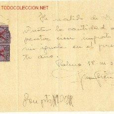 Cartas comerciales: GUERRA CIVIL FALANGE DOS FACTURAS CON SELLOS 1937 Y 1938 MALLORCA. Lote 23098474