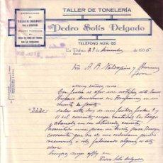 Cartas comerciales: LA PALMA (HUELVA). 1936. CARTA COMERCIAL. TALLER DE TONELERIA. PEDRO SOLIS DELGADO.. Lote 10964842
