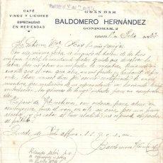 Cartas comerciales: VALLADOLID. 1932. CARTA COMERCIAL DE CAFE, VINOS Y LICORES. BALDOMERO HERNANDEZ.. Lote 9953992