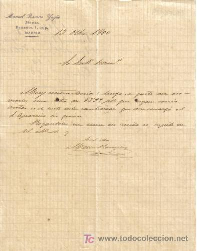 MADRID. 1900. CARTA COMERCIAL DE ABOGADO. MANUEL ROMERO YAGUE. (Coleccionismo - Documentos - Cartas Comerciales)