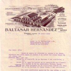 Cartas comerciales: VITORIA. 1932. CARTA COMERCIAL. DESTILERIA A VAPOR DE LICORES FINOS. BALTASAR HERNANDEZ.. Lote 10029808