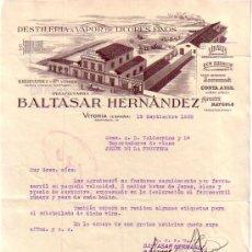 Cartas comerciales: VITORIA. 1932. CARTA COMERCIAL. DESTILERIA A VAPOR DE LICORES FINOS. BALTASAR HERNANDEZ.. Lote 10029859