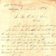 Cartas comerciales: CARTA PARA CIEZA DE JUEZ DE FORTUNA MURCIA 1895. Lote 26514592