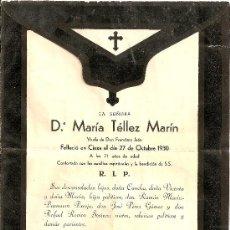 Cartas comerciales: CARTA DE DEFUNCION 1930. Lote 26596837