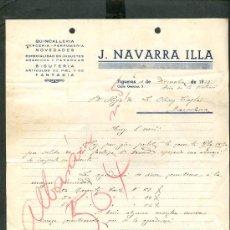 Cartas comerciales: FIGUERES. *J. NAVARRA ILLA* AÑO 1939.. Lote 10693557