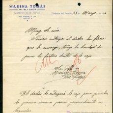 Cartas comerciales: VILAFRANCA DEL PENEDÈS. *MARINA TOMÁS - COMESTIBLES FINOS* FECHA: MAYO 1944.. Lote 10705745
