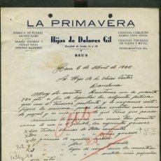 Cartas comerciales: REUS. *LA PRIMAVERA. HIJAS DE DOLORES GIL* FECHADA 1945.. Lote 10729839
