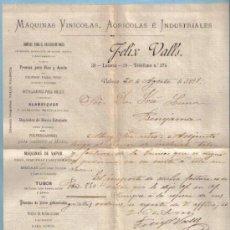 Cartas comerciales: CARTA COMERCIAL DE FELIX VALLS DIRIGIDA A D. JOSE LUNA. FECHADA EN VALENCIA A 20 DE AGOSTO DE 1891. Lote 23270768