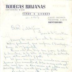 Cartas comerciales: FUENTERRABIA. 1957. CARTA COMERCIAL DE VINOS Y LICORES. BODEGAS RIOJANAS.. Lote 11930065
