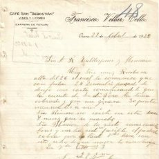Cartas comerciales: OSUNA. 1922. CARTA COMERCIAL DE VINOS Y LICORES. FRANCISCO VILLAR TELLO.. Lote 16745525