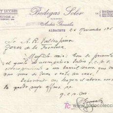 Cartas comerciales: ALBACETE. 1954. CARTA COMERCIAL DE VINOS Y LICORES. BODEGAS SOLER.. Lote 12047678