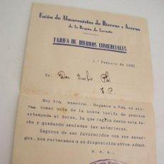 Cartas comerciales: TARIFA DE HIERROS COMERCIALES-01/02/1935-UNIÓN DE ALMACENISTAS DE HIERROS Y ACEROS DE LA R. DE LEV.. Lote 23429872