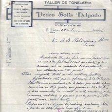 Cartas comerciales: LA PALMA ( HUELVA). 1936. CARTA COMERCIAL DE TALLER DE TONELERIA. PEDRO SOLIS DELGADO.. Lote 13396516