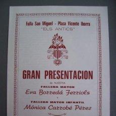 Cartas comerciales: PRESENTACION FALLERA MAYOR, FALLA SAN MIGUEL - PLAZA VICENTE IBORRA - ELS ANTICS, 1984. Lote 15029348
