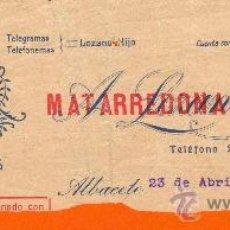 Cartas comerciales: MEMBRETE DE LA FABRICA DE DULCES LA FAVORITA MATARREDONA HERMANOS S.A. ALBACETE 1929. Lote 26714061