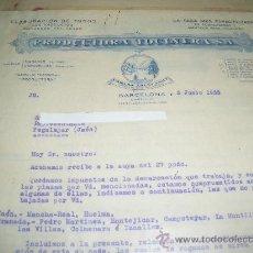 Cartas comerciales: PRODUCTORA TOCINERA. CARLOS ABELLANET. BARCELONA 1933.. Lote 18542651